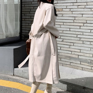 Faux Leather Loose Fit Sexy Long Coat - OWNPURPLE