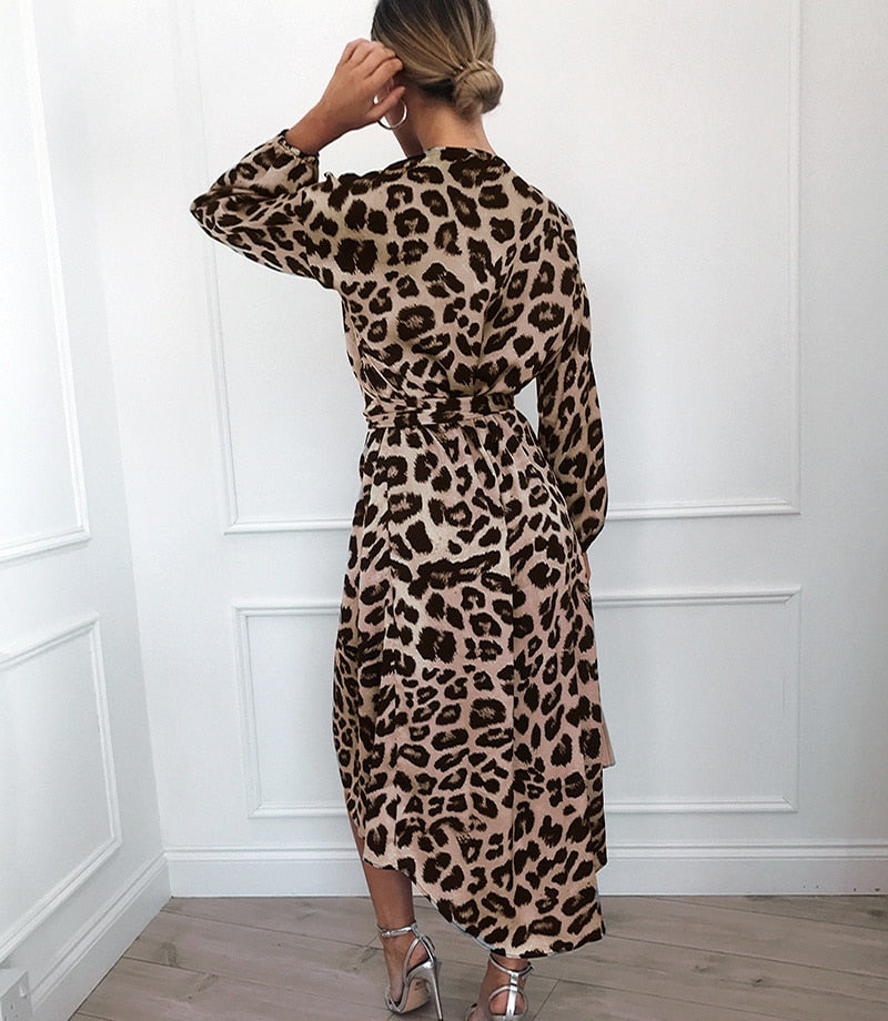 V-Neck Leopard Wrap Dress - OWNPURPLE