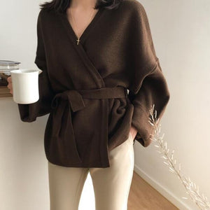 Wide Sleeves Knitted Cardigan Top With Belt - OWNPURPLE