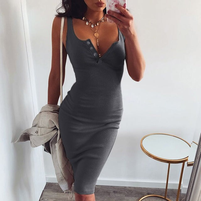 Knitted Elastic Sleeveless Buttons down V-neck Bodycon Dresses - OWNPURPLE