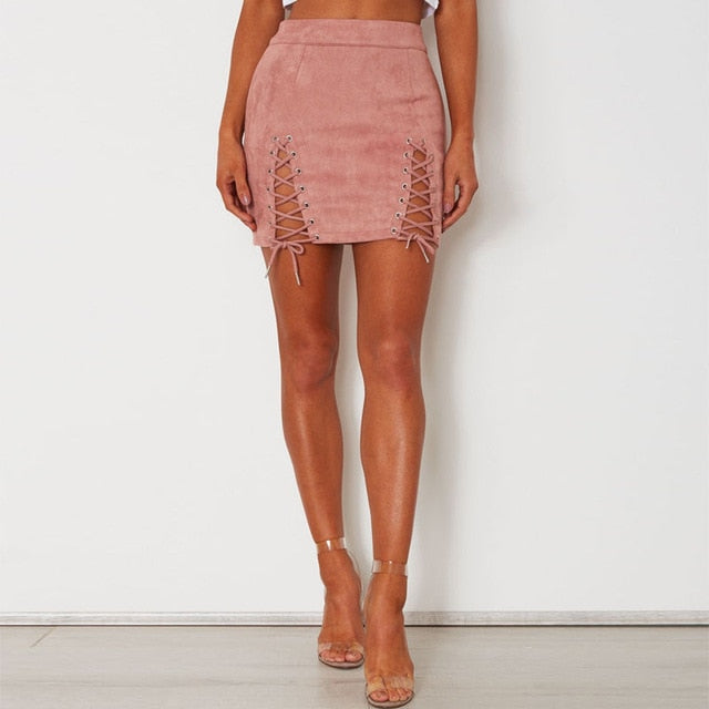 Side Strap Suede Mini Skirt - OWNPURPLE