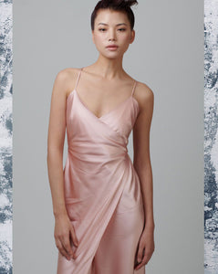 Salmon Pink Mulberry Silk Wrap Up Slip kjole