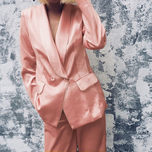 Pink Silk Suit Set
