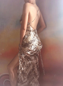 Silvia Silver Leopard Backless Cowl Neck Silk Slip Dress