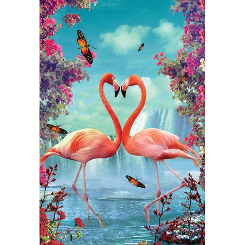 Flamingos In Love 5D DIY Paint By Diamond Kit