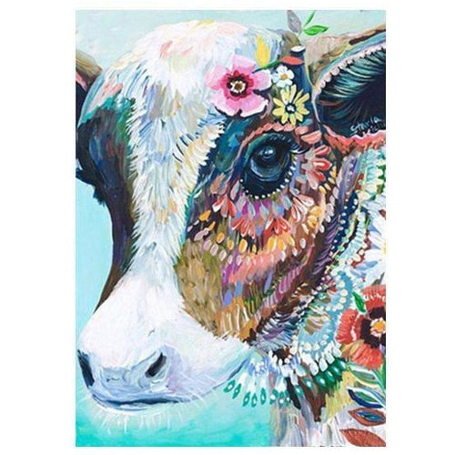 Colorful Floral Vintage Cow 5D DIY Paint By Diamond Kit - Paint by Diamond