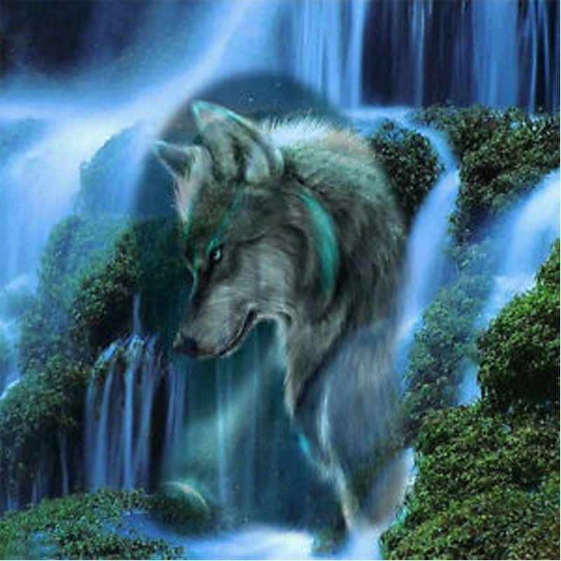 Waterfall Scenic Wolf 5D DIY Paint By Diamond Kit