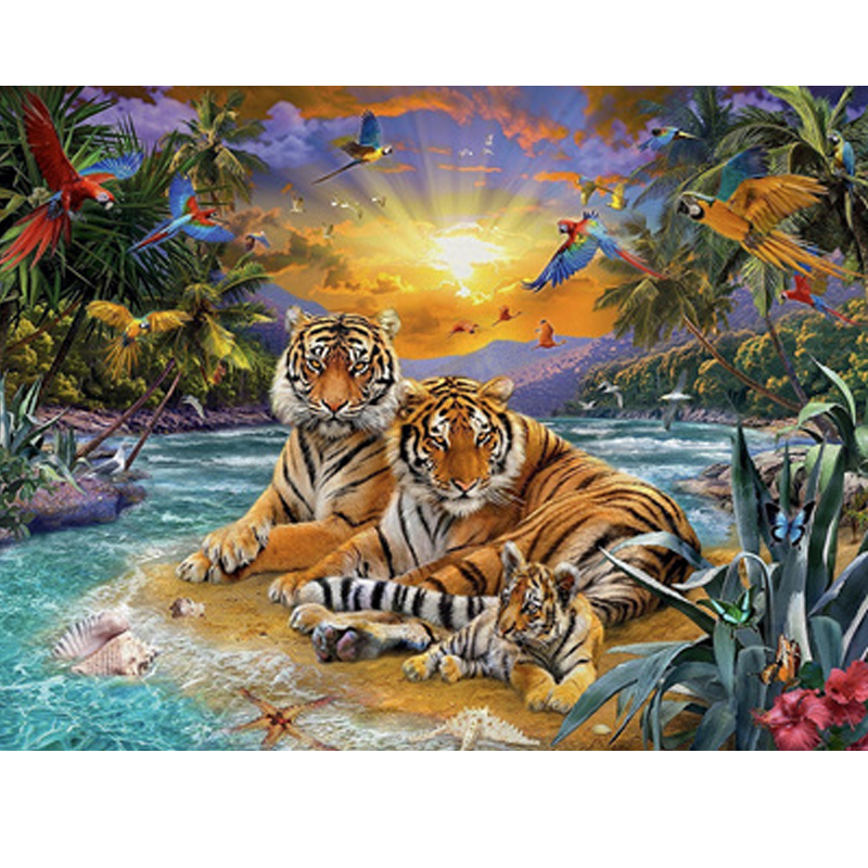 Tigers Family 5D DIY Paint By Diamond Kit