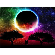 Rianbow Moon Nature Scenery 5D DIY Paint By Diamond Kit