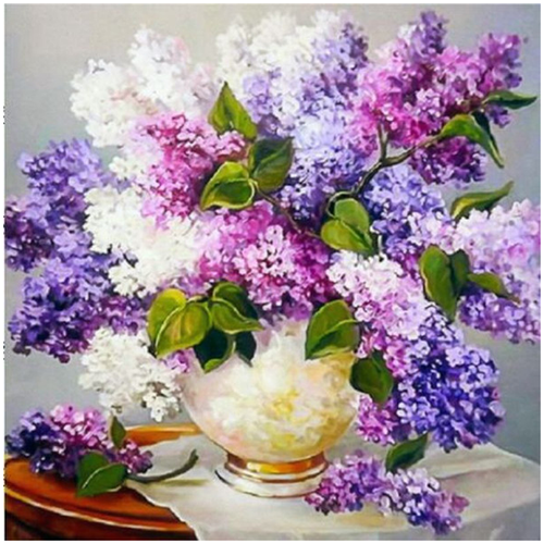Purple Flowers 5D DIY Paint By Diamond Kit