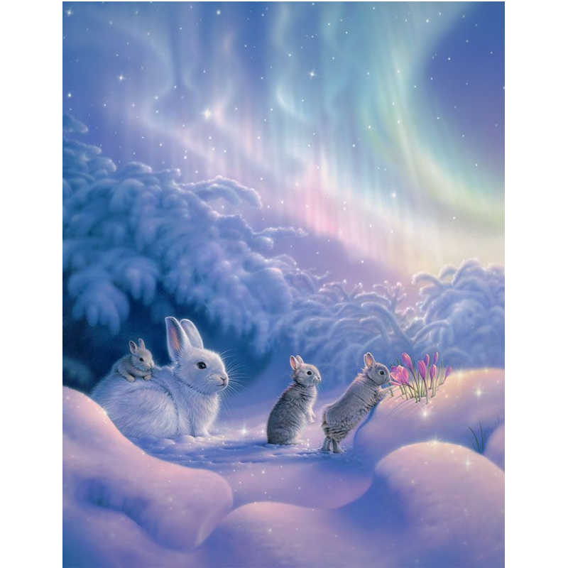 Rabbits In Winter 5D DIY Paint By Diamond Kit