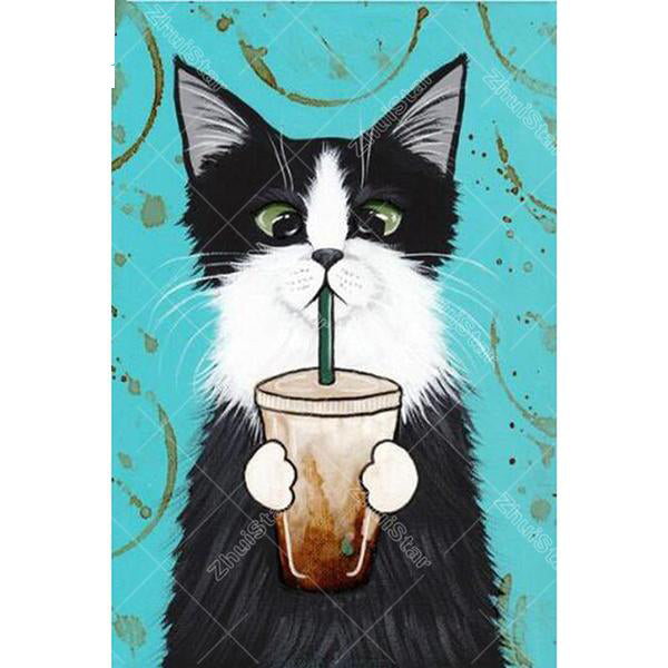 Cat Sipping Coffee 5D DIY Paint By Diamond Kit