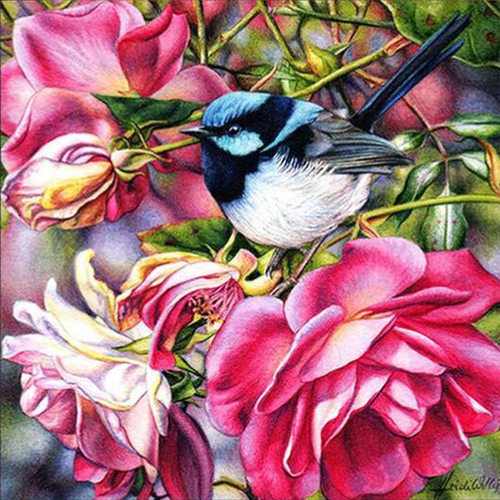 Bird and Flower 5D DIY Paint By Diamond Kit