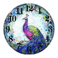 Peacock Clock 5D DIY Paint By Diamond Kit