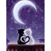 Love Cat Under The Moon 5D DIY Paint By Diamond Kit