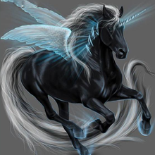 Black Unicorn 5D DIY Paint By Diamond Kit