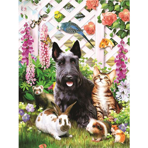 Dog Cat Rabbit 5D DIY Paint By Diamond Kit