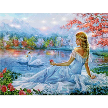 Girl With Swans 5D DIY Paint By Diamond Kit