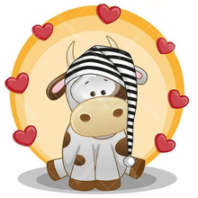 Cartoon Heart Hat Cow 5D DIY Paint By Diamond Kit - Paint by Diamond