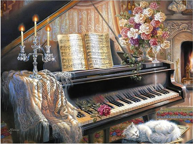 Cat And Piano 5D DIY Paint By Diamond Kit