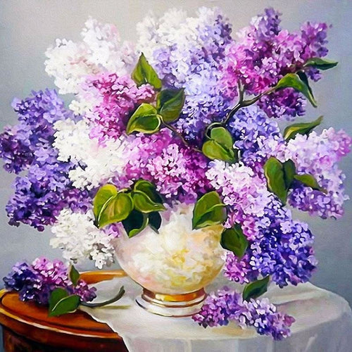 Lavender Flower Vase 5D DIY Paint By Diamond Kit - Paint by Diamond