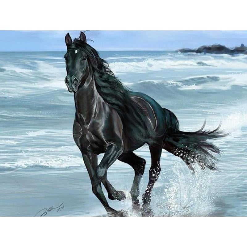 Black Horse 5D DIY Paint By Diamond Kit - Paint by Diamond