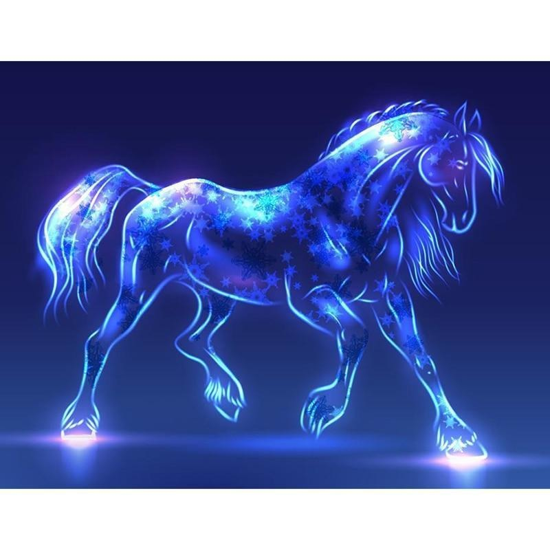 Fluorescent Horse 5D DIY Paint By Diamond Kit - Paint by Diamond