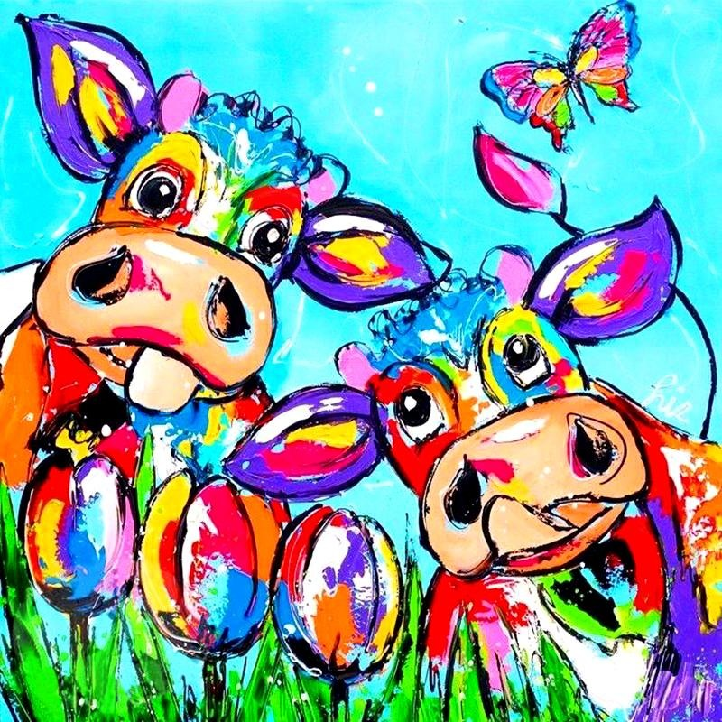 Colorful Cows In Love 5D DIY Paint By Diamond Kit - Paint by Diamond