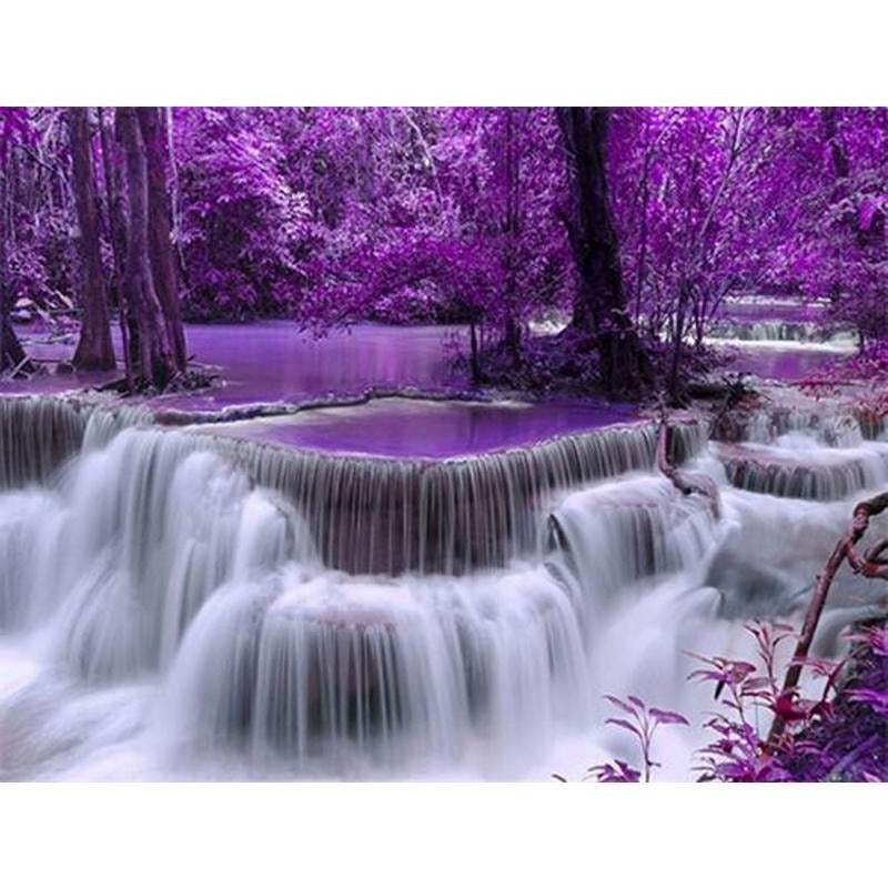 Purple Forest Waterfall 5D DIY Paint By Diamond Kit - Paint by Diamond