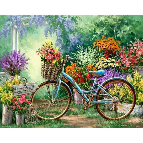 Flowers And Bicycles 5D DIY Paint By Diamond Kit - Paint by Diamond