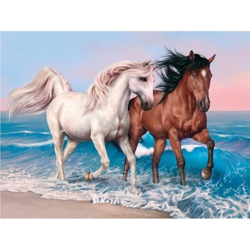 Beach couple horse 5D DIY Paint By Diamond Kit - Paint by Diamond
