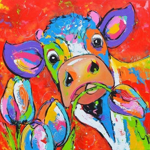 Colorful Cow 5D DIY Paint By Diamond Kit
