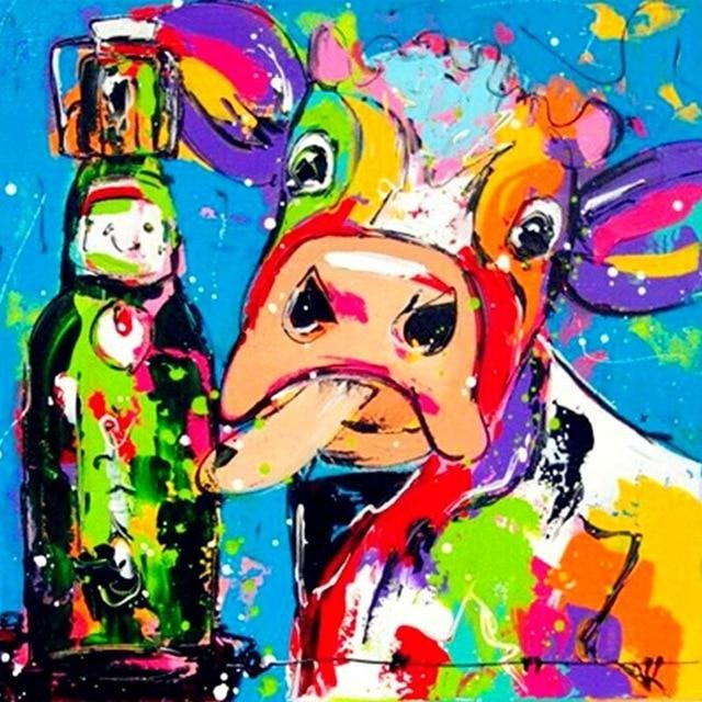 Colorful Cow With A Bottle 5D DIY Paint By Diamond Kit - Paint by Diamond