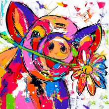 Colorful Smiling Pig With Flower 5D DIY Paint By Diamond Kit - Paint by Diamond