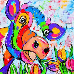 Flower Eating Cow 5D DIY Paint By Diamond Kit - Paint by Diamond