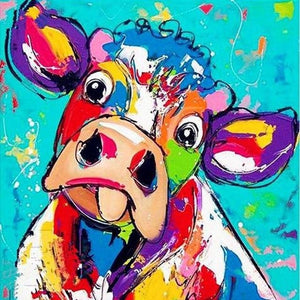 Colorful Funny Cow 5D DIY Paint By Diamond Kit