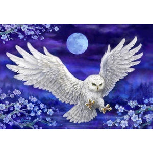 White Owl In Purple Sky 5D DIY Paint By Diamond Kit - Paint by Diamond