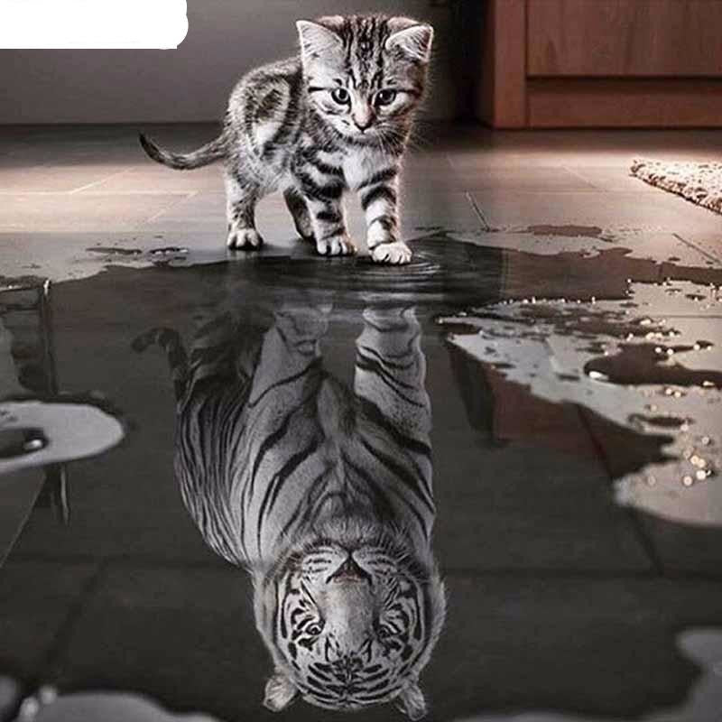 Reflection Kitty Tiger 5D DIY Paint By Diamond Kit - Paint by Diamond