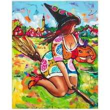Woman On A Broom With Pumpkin 5D DIY Paint By Diamond Kit - Paint by Diamond