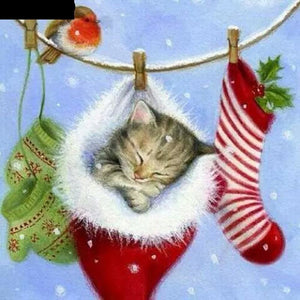 Christmas Kitten 5D DIY Paint By Diamond Kit - Paint by Diamond