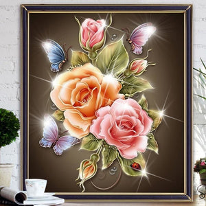 Glittery Roses 5D DIY Paint By Diamond Kit - Paint by Diamond