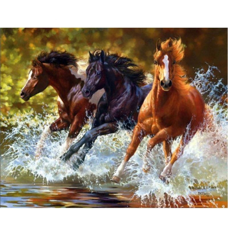 Full Square Horses 5D DIY Paint By Diamond Kit - Paint by Diamond