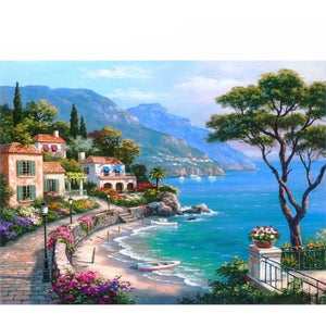 Beautiful Seaside Town 5D DIY Paint By Diamond Kit - Paint by Diamond