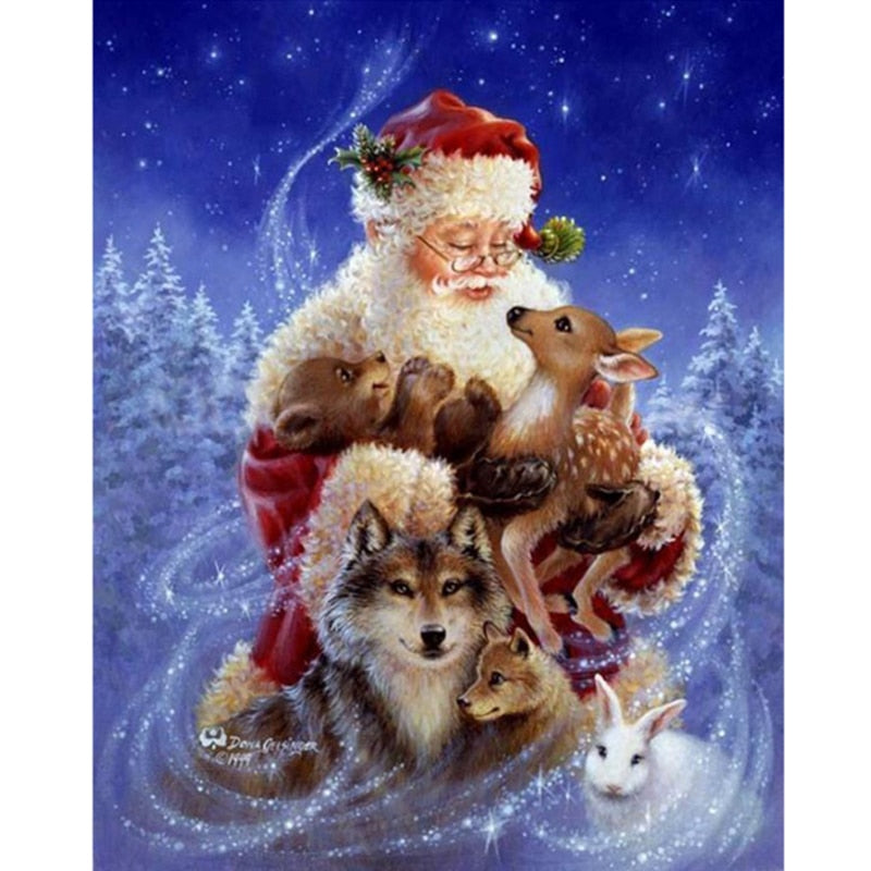 Santa Claus and Animals 5D DIY Paint By Diamond Kit