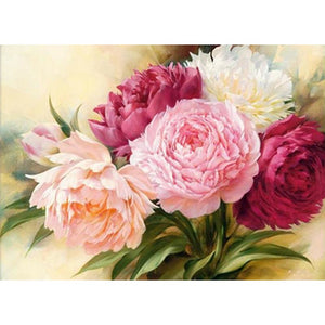 Peony Multicolour Flowers 5D DIY Paint By Diamond Kit - Paint by Diamond
