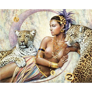 Beautiful Girl And The Leopard 5D DIY Paint By Diamond Kit - Paint by Diamond