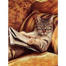 Nerdy Cat On The Sofa 5D DIY Paint By Diamond Kit - Paint by Diamond