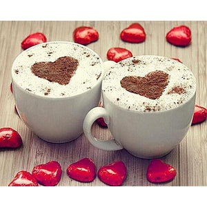 Heart Coffee Cup 5D DIY Paint By Diamond Kit - Paint by Diamond