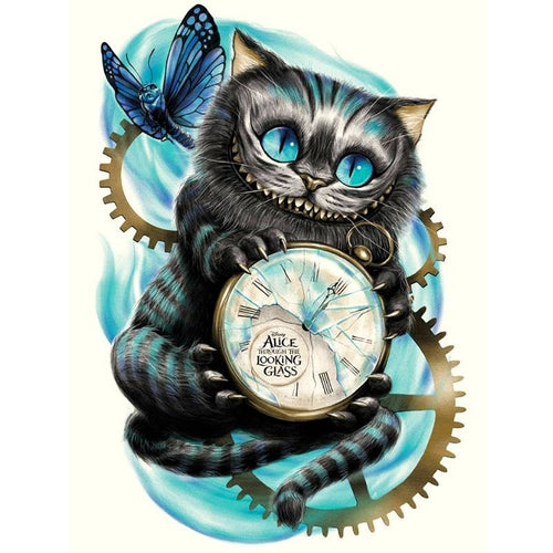 Cartoon Cat Clock 5D DIY Paint By Diamond Kit - Paint by Diamond