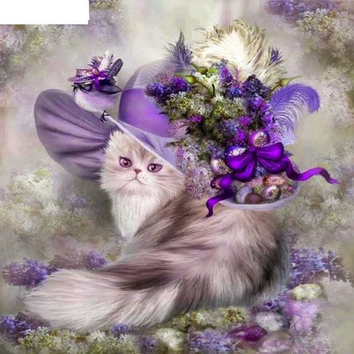 Animal Flower Cat  5D DIY Paint By Diamond Kit - Paint by Diamond